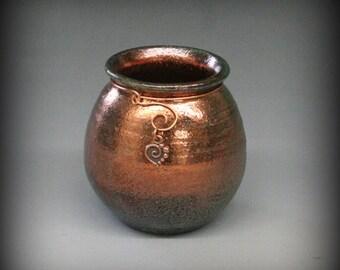 Raku Pot with Copper Heart Charm