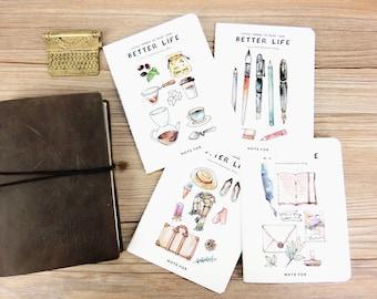 Set of 4 ~ Best Life Midori,MTN, Fauxdori Notebook Refill ,A6 size, Travelers notebook inserts, journal notes, A6 notebook set