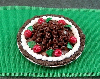 Chocolate Fudge Pie with Raspberries  (1:12th scale)