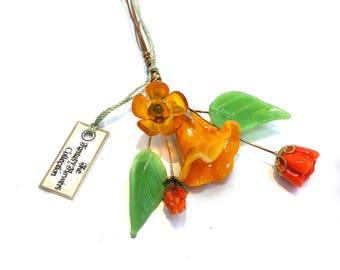 Orange green Lampwork Headpin Bouquet. Set of six headpins.