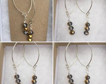 Crystal V Wishbone Sterling Silver Earrings, Handmade Crystal Earrings, Designer Crystal Earrings, Edinburgh Earrings