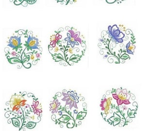 Embroidered  quilt blocks--JACOBEAN FLOWERS
