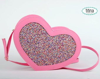 limited edition pink heart cake bag
