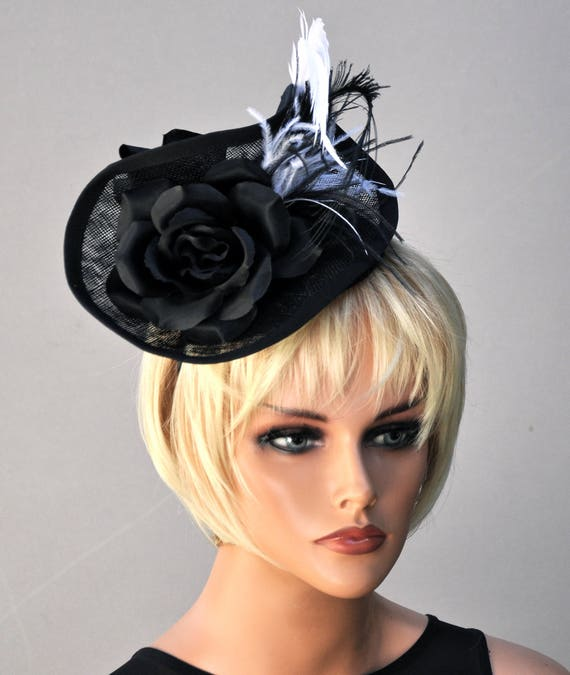 Derby Fascinator, Kentucky Derby fascinator hat, wedding fascinator, wedding hat, Derby Hat, Ascot Hat, Formal hat, Black and White Hat