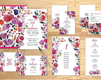 Pack imprimable faire-part mariage Bouquet de roses - Pack printable wedding invitation Bunch of roses Watercolor
