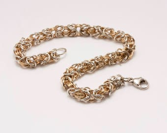 Sterling Silver and Gold-filled Byzantine Link Bracelet with Lobster Clasp