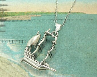 Pirate Galleon Sterling Silver Ship Charm Necklace Nautical Jewelry