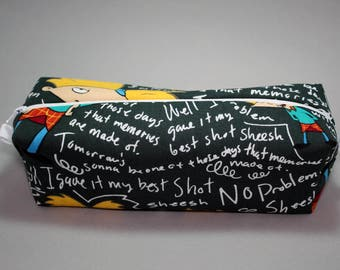 Boxy Makeup Bag - Nickelodeon's Hey Arnold Chalkboard Print Zipper - Pencil Pouch