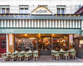 Paris Photograph on Canvas - Café La Mascotte in Montmartre, Gallery Wrapped Canvas, French Home Decor, Large Wall Art