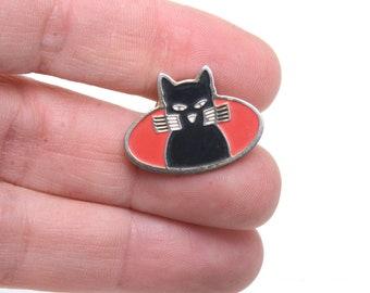 Black cat, cat pin, cat brooch, cat jewelry,  Lapel pin, retro, 90s, enamel pin, cat lapel pin, cat enamel pin, cat badge