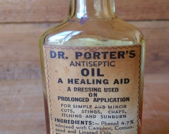 Dr-Porters Antiseptic Oil Antique Medicine Bottle 3 oz 1/2 Full