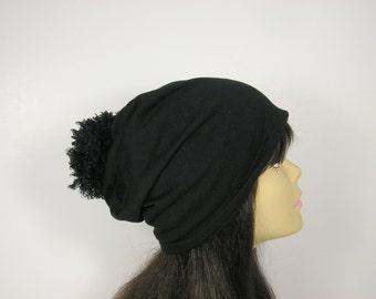 FREE SHIPPING 100% Cotton Black Pom Beanie Slouchy Hat with Faux Fur Pom Pom Lightweight Slouchy Beanie Faux Fur Pom Womans Slouchy Hat