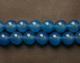 Blue Brazil agate round Ball loose gemstone beads strand 16'' 4mm 6mm 8mm 10mm 12mm