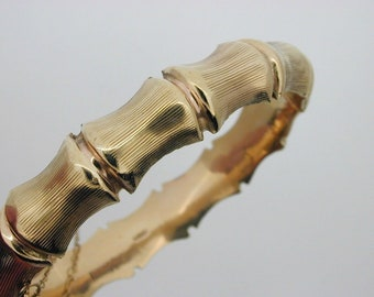 Bamboo Design decorative bracelet 1971 9ct Bangle 15.7g