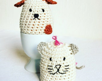 Egg Cozy Cat and Dog - Crochet Egg Cozy - Dog Egg Cozy- Cat Egg Cozy - Egg Warmers Cat and Dog - Gift for Kids - Gift for Couple - Under 20