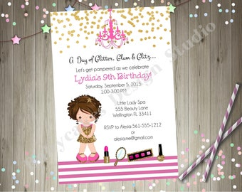 Dress Up Party Invitation Glam Glamour Party Spa Party Pamper Party Spa Day Birthday Invitation Printable CHOOSE YOUR GIRL