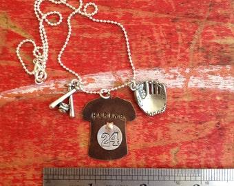 Baseball Mom Personalized Necklace. Custom baseball jewelry