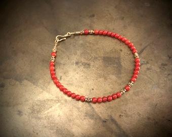 bracelet with old vintage coral and solid gold 18 karat 18k
