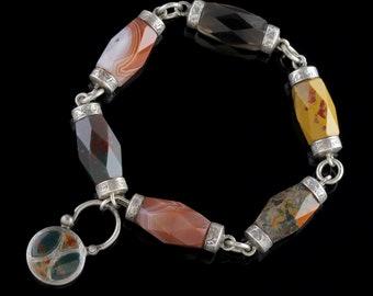 Antique Victorian Scottish Bracelet Agate Silver Padlock Circa 1840