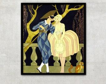 "Vintage Art Deco fashion illustration ""Harlequin's Kiss"" by Georges Barbier, IL043"