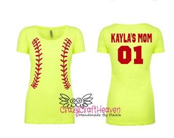 Custom Softball shirt, Softball mom, T-ball mom, Proud mom, Softball shirt, monogrammed baseball shirt, women's baseball shirt