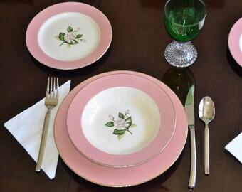 11 Piece Homer Laughlin Glenwood Dish Set Vintage Pink ... & Vintage pink plates | Etsy