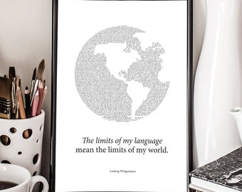 Limits of my Language, Ludwik Wittgenstein Quote, Giclee Art Print, Philosophy Poster, Wall decor
