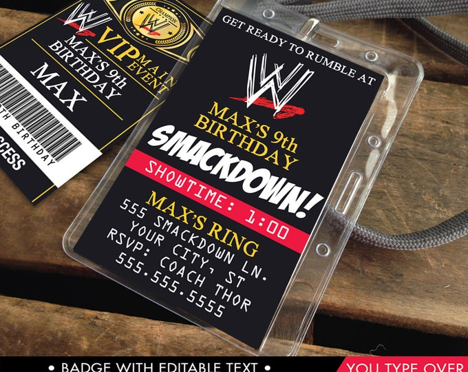 Wrestling VIP Badge Badge Invitation - 2-Sided Badge, Party Favor, Wrestle Mania, wwe Invite | Instant Download D.I.Y. Printable PDF Kit