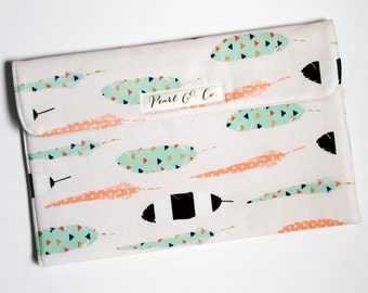 Diaper Clutch - White with Mint & Coral Feathers - Tribal Diaper Clutch - Neutral Diaper Wallet - Mint Diaper Pouch - Diaper Bag Organizer