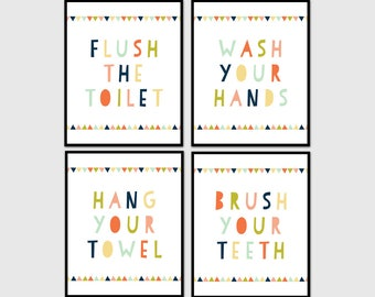 Kids Bathroom Wall Art, Kids Bathroom Decor, Wash Your Hands, Set Of 4