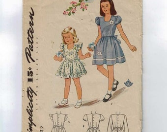 1940s Vintage Sewing Pattern Simplicity 1160 Girls Party Dress Size 2 Breast Chest 21 40s