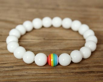 Lesbian pride bracelet lgbt rainbow bead bracelet lesbian bracelet gay pride jewelry lgbt friendship bracelet lgbtq gifts lesbian gift ideas