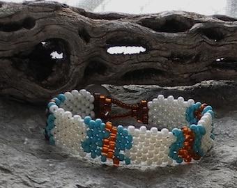 Free Form Peyote Stitch Beaded Bracelet  - Bead Weaving - Peace Bracelet - White Turquoise Amber