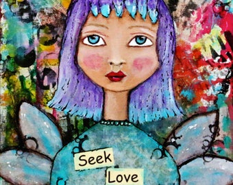 "Angel Art ""Seek Love"" on 8 x 8 Wood Purple Turquoise Hair Original Mixed Media Art By Charlotte Littlejohn"