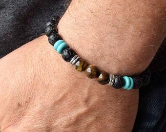 Men's Beaded Bracelets, Men's Bracelet, Men's Energy Bracelet, Tiger Eye Bracelet For Men  , Lava Bracelet, Men Bracelet Gift
