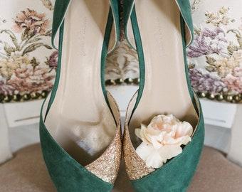Wedding shoes, emerald wedding shoes, bridal ballet flats, low wedding shoes, bridal flats, wedding flats, green shoes, ballet flats