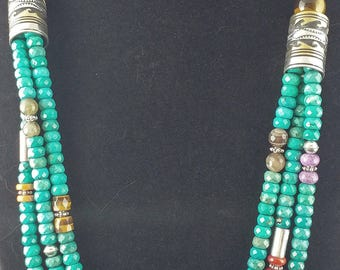 TOMMY & ROSE SINGER Navajo Treasure Necklace, Native American necklace, Native American jewelry, turquoise, silver, gold