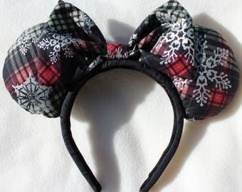 Red and Green Christmas Plaid Minnie Ears