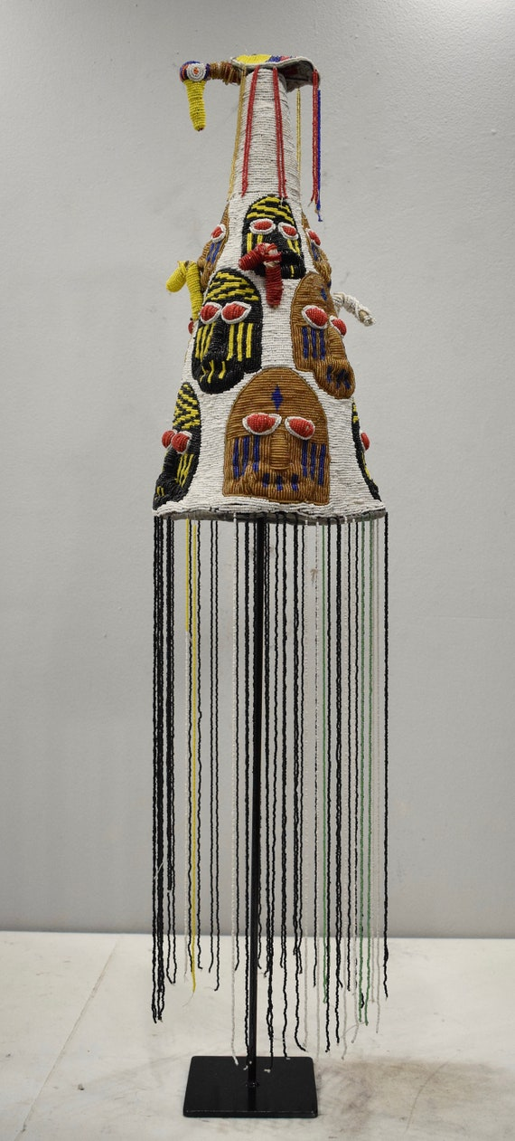 African Yoruba Beaded Crown Beaded Birds Nigeria Beaded Yoruba Crown