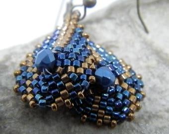 Weaving needle Blue Metallic and bronze earrings