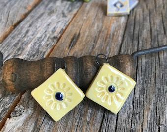 1 Pair Pottery Square Earring Findings | DIY Ceramic Jewelry | Stoneware En pointe earring findings | DIY BOHO Pottery Jewelry Supply
