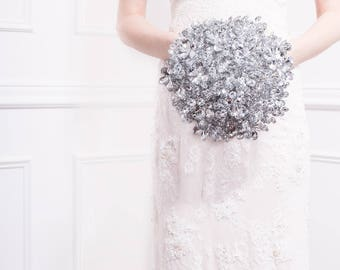 Wedding Bouquet - The Luxe Duo Mirrored Bouquet - Bridal Bouquet - Fabulous Brooch Bouquet Alternative with Grooms Boutonniere