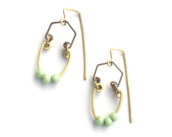Mint and gold earrings. Modern design with brass metal and tiny mint beads make fun statement earrings!