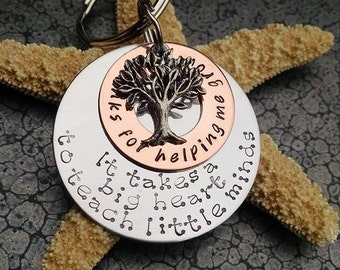 Teacher Appreciation Gift Teacher Christmas Gift Thanks for Helping Me Grow Keychain It Takes a Big Heart to Teach Little Minds