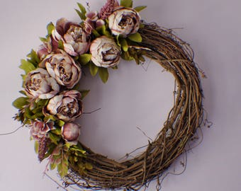 Front Door Wreaths, Door Wreath, Wedding Wreath, Door Wreath, Pink Peony Wreath, Year Round Wreath, Winter Wreath, Fall Wreath Summer Wreath