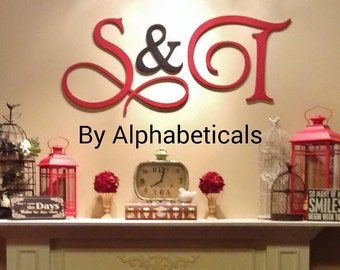 Wooden Signs Wall Decor Wooden Letters Wall Letters Initial Monogram Initials His and Hers Script Bedroom Large Wall Hanging Alphabeticals