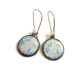 Cherry Blossoms Sakura Jewelry Tree Earrings - Vintage Cherry Blossoms Earrings - Sakura Cherry Blossom earrings - blue
