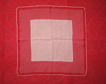 Vintage Hanky / Mid CENTURY 1940s 1950s Handkerchief Hanky~Hankie / UNUSED / Polka Dots/ Red & White Christmas Wedding