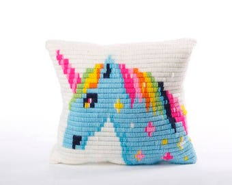 Unicorn pattern embroidery pillow kit for beginners, Easier than cross stitch, DIY kids kit, birthday gift, needlepoint craft kit for kids