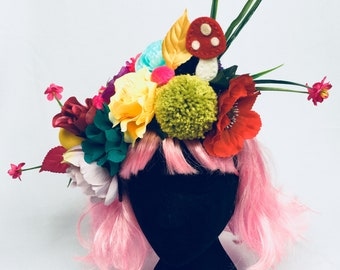 Multi coloured wild floral spring summer festival headdress